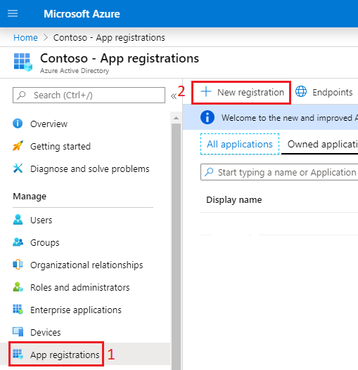 Registering a new app in Azure Active Directory