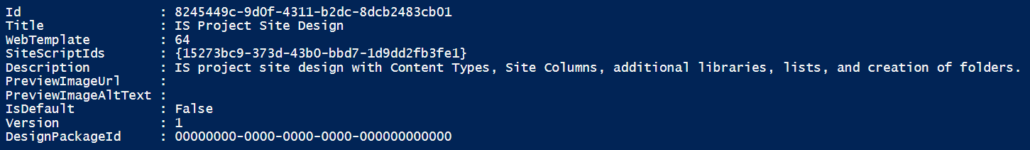 Console result for Associating Site Script with Site Design