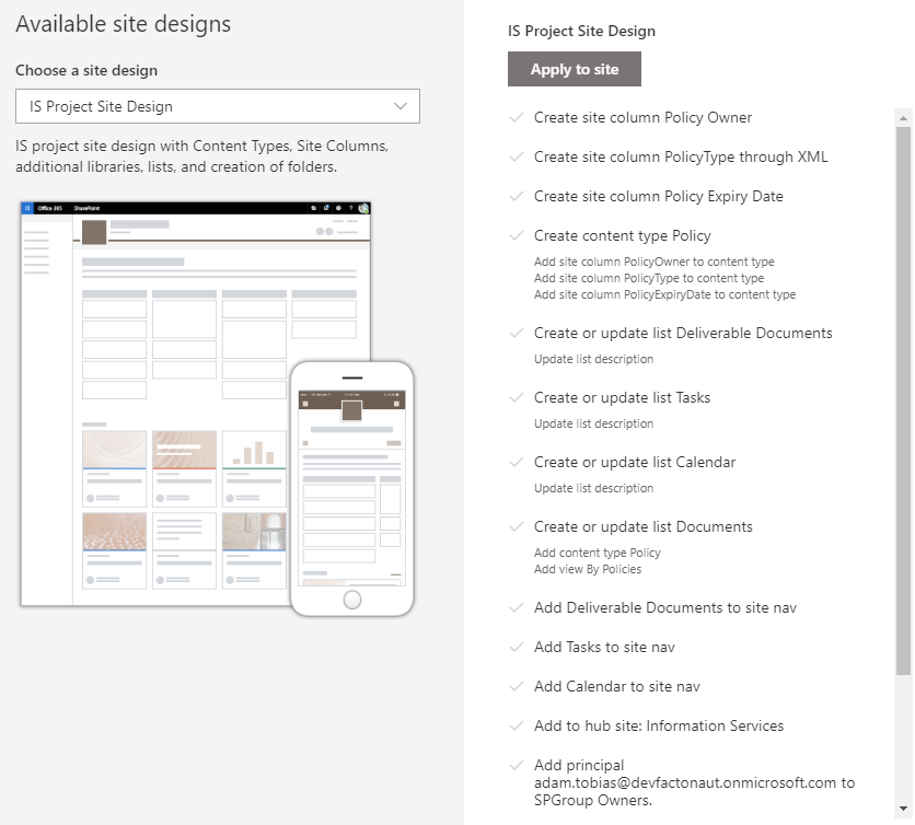 Available Site Dsigns - Progress Status