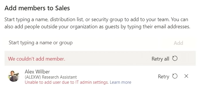 Couldn't add member to team due to Information Barriers policy