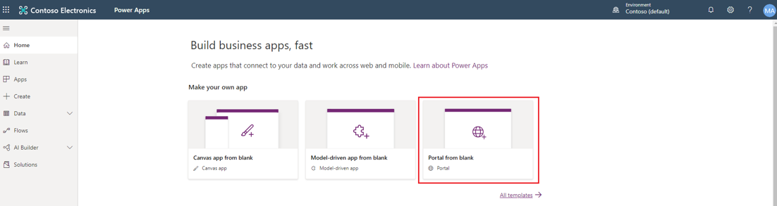 Create Power Apps Portal from blank