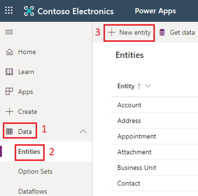 Create a new entity in Power Apps