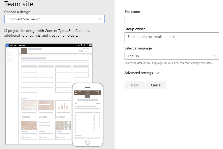 Creating a new site in SharePoint based on Site Designs