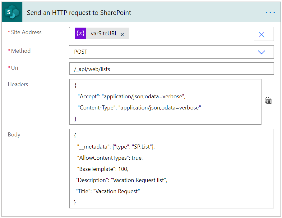 Sent HTTP request to SharePoint