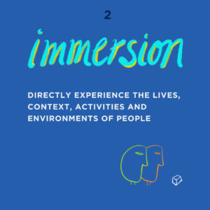 UX Design - Immersion - Directly experience the lives, context, activities and environments of people.