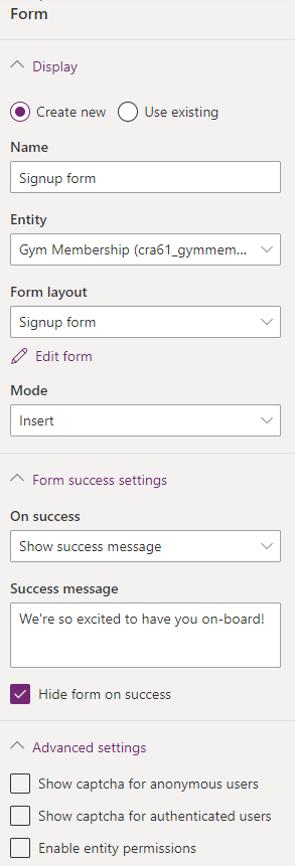Final form settings