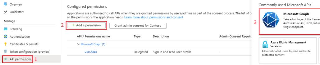 Grant app permissions to Microsoft Graph