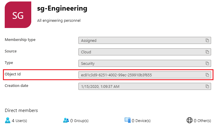 Azure Active Directory Group ID