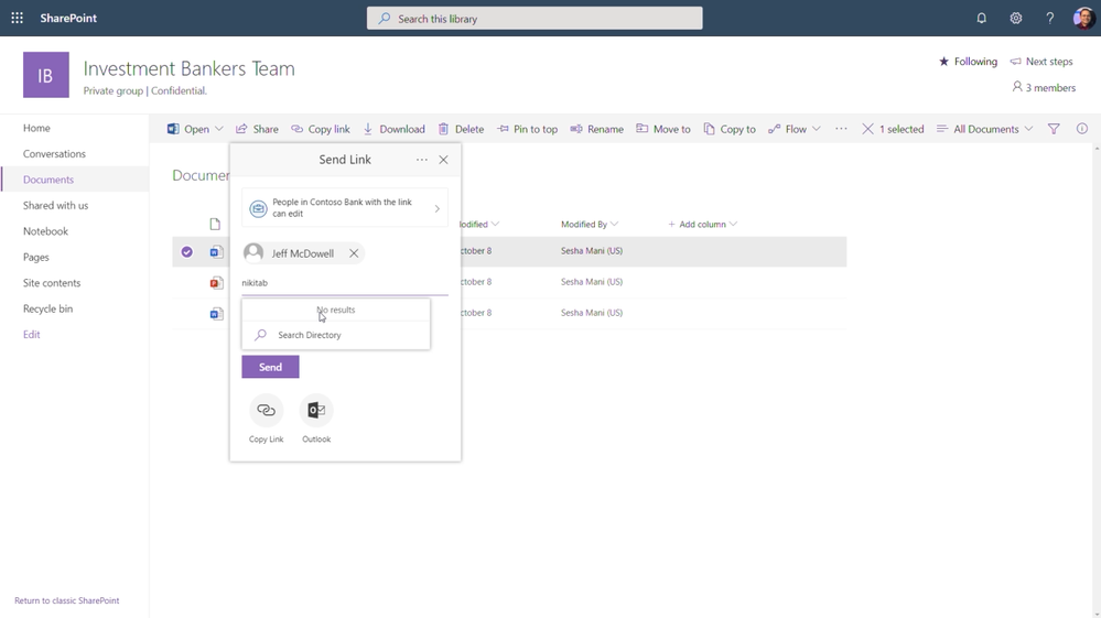 Limiting file sharing in SharePoint with Information Barriers Policies