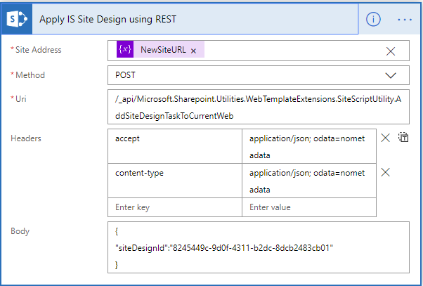 Microsoft Flow - Apply IS Site Design