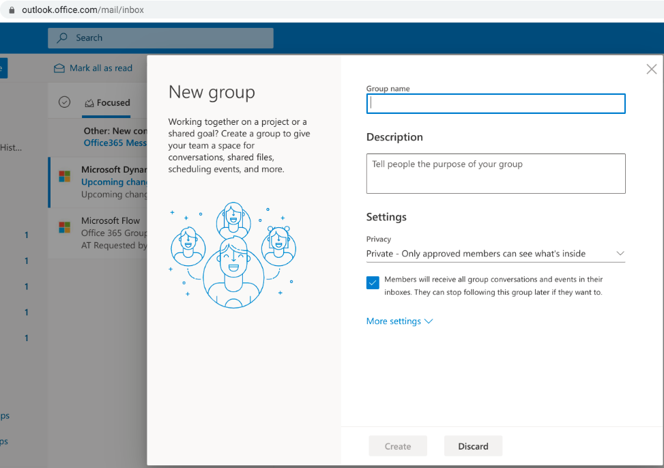 Create a New group in Outlook