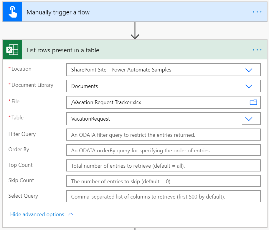 mapping excel rows to SharePoint list