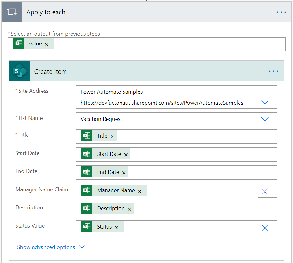 Create a SharePoint Item in Power Automate Flow