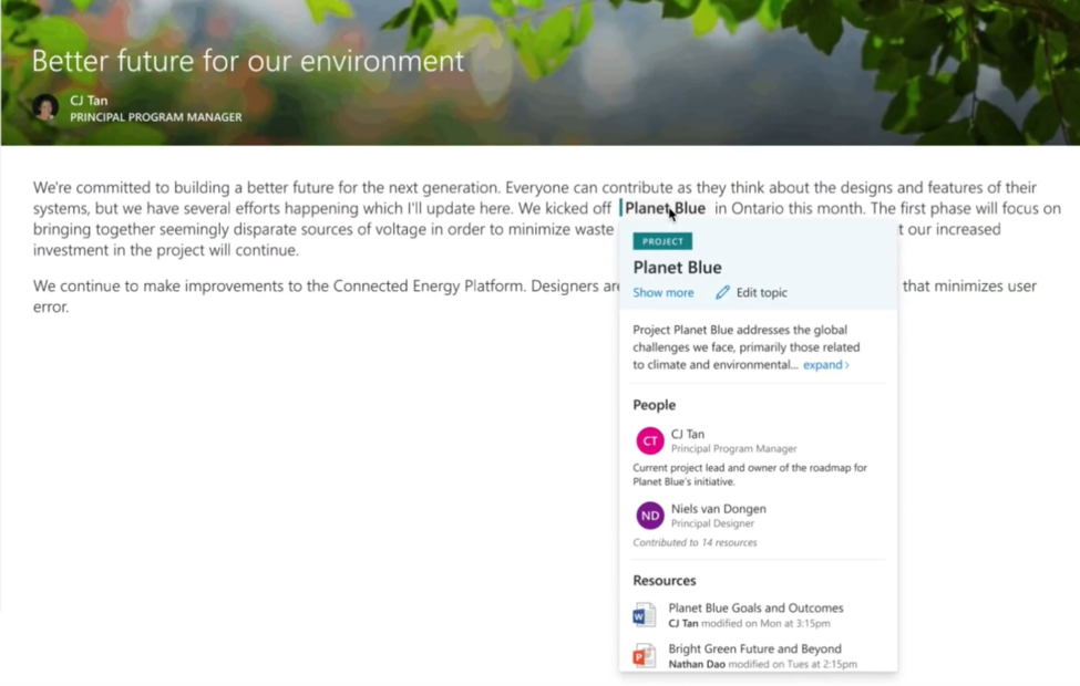 Topic Card in Project Cortex SharePoint