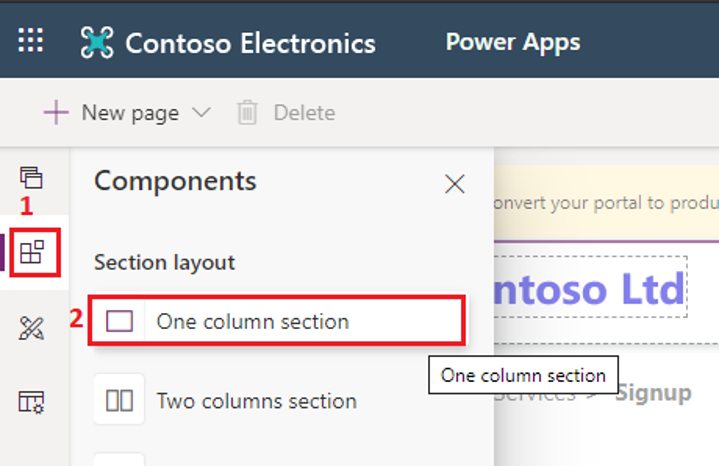 Select One column section in Power Apps portal
