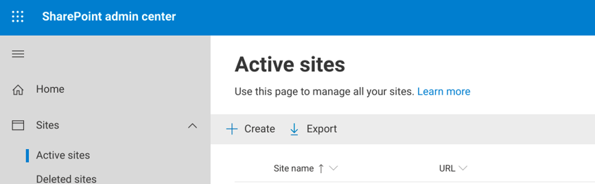 create a site in the SharePoint Admin Center