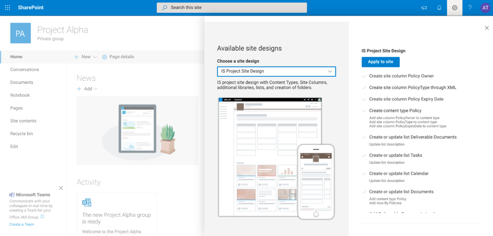 SharePoint Site Provisioning-Apply Site Design