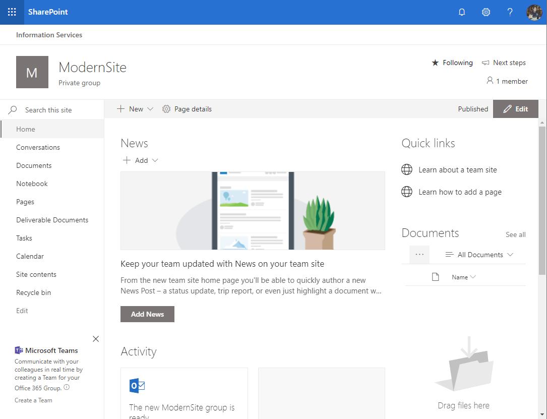 SharePoint Modern Site -Site Design