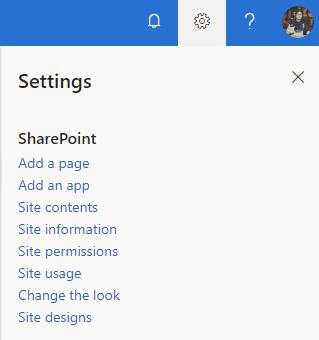 Settings Menu in SharePoint Site design