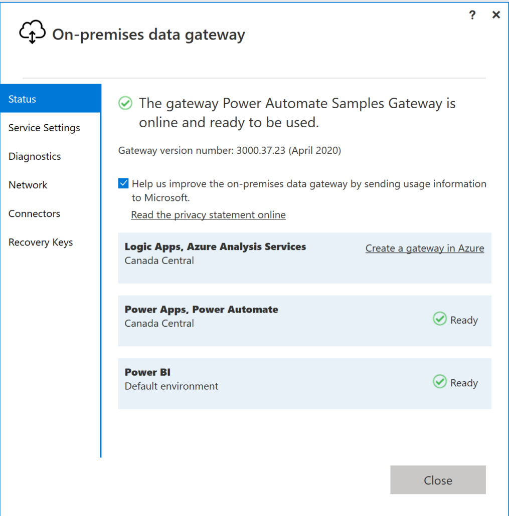 On-premises data gateway in Power Automate