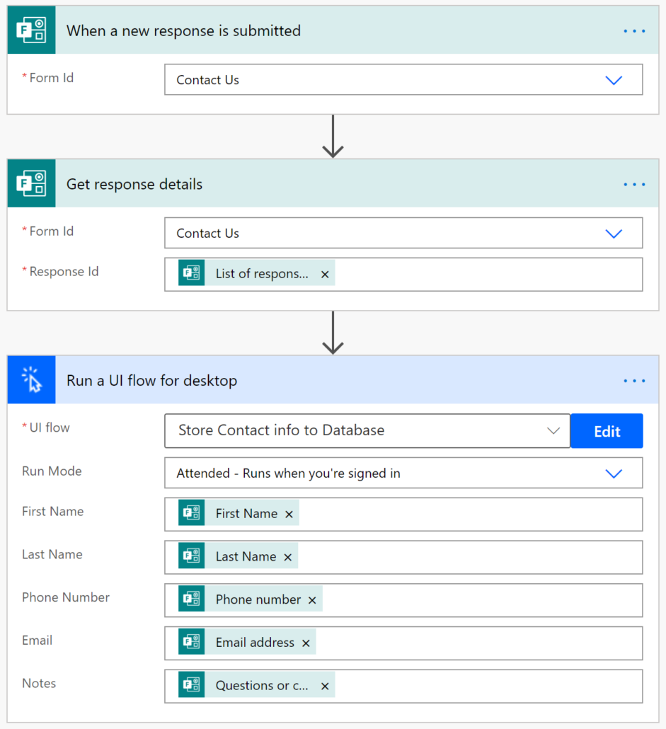 complete UI flow in Power Automate