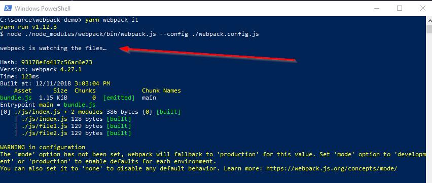 Webpack Demo 3 - PowerShell Output bundle