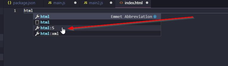 Webpack Demo 2 Emmet Abbreviation