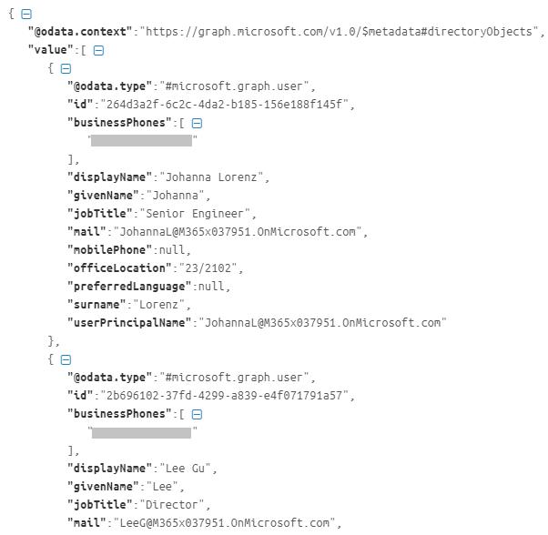 Retrieved Users Json